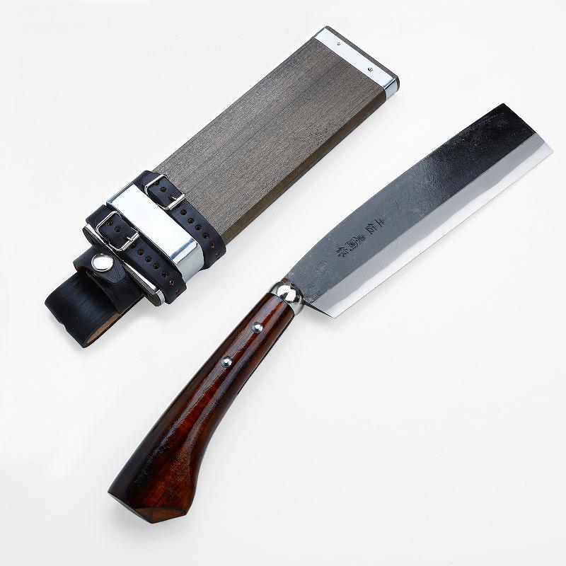 東周作 最高級黒打腰鉈 両刃 210mm 白紙鋼 オイルステイン仕上げ 鞘付き