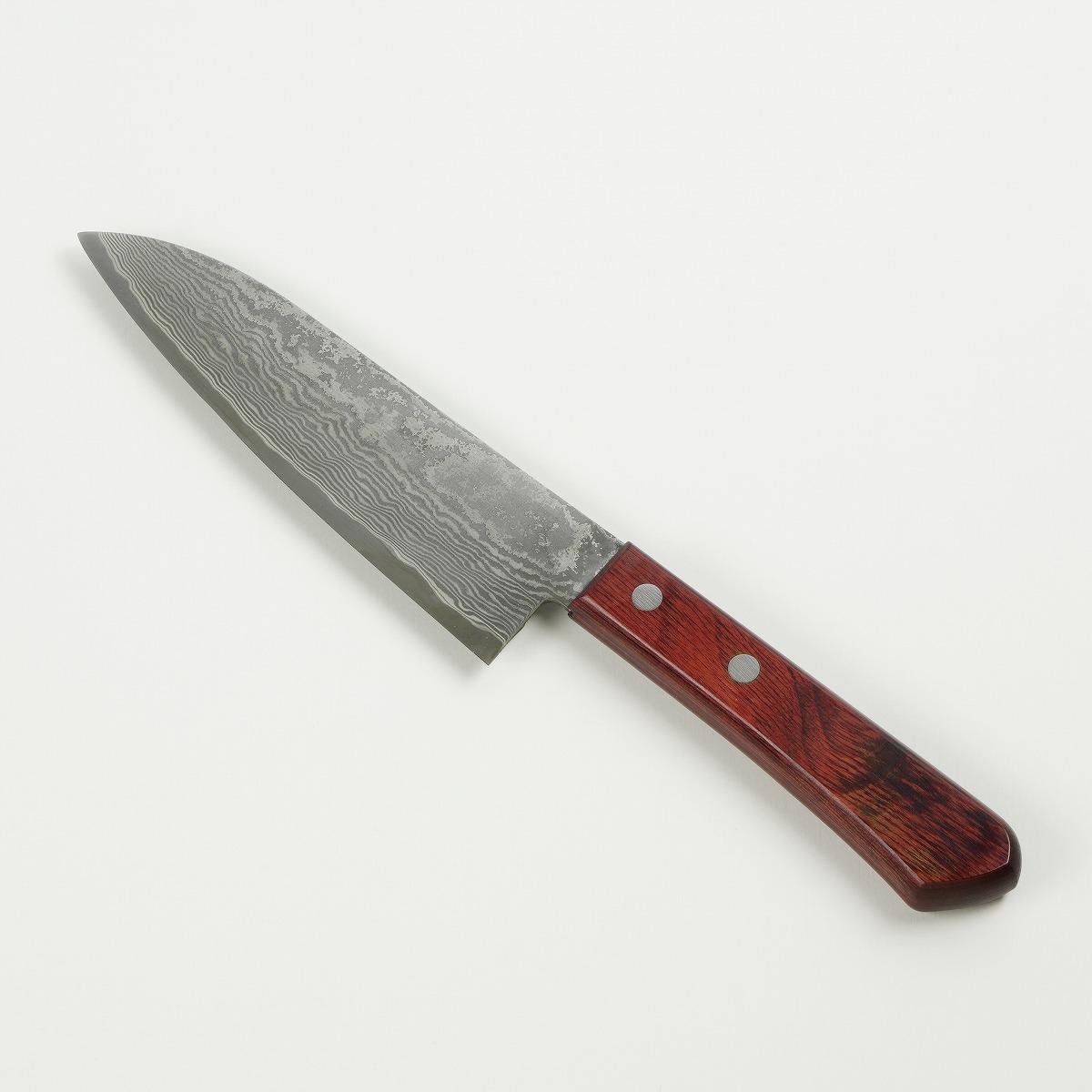 三徳包丁 両刃 165mm 粉末ステンレス積層鋼赤合板柄 ほんまもん推奨包丁