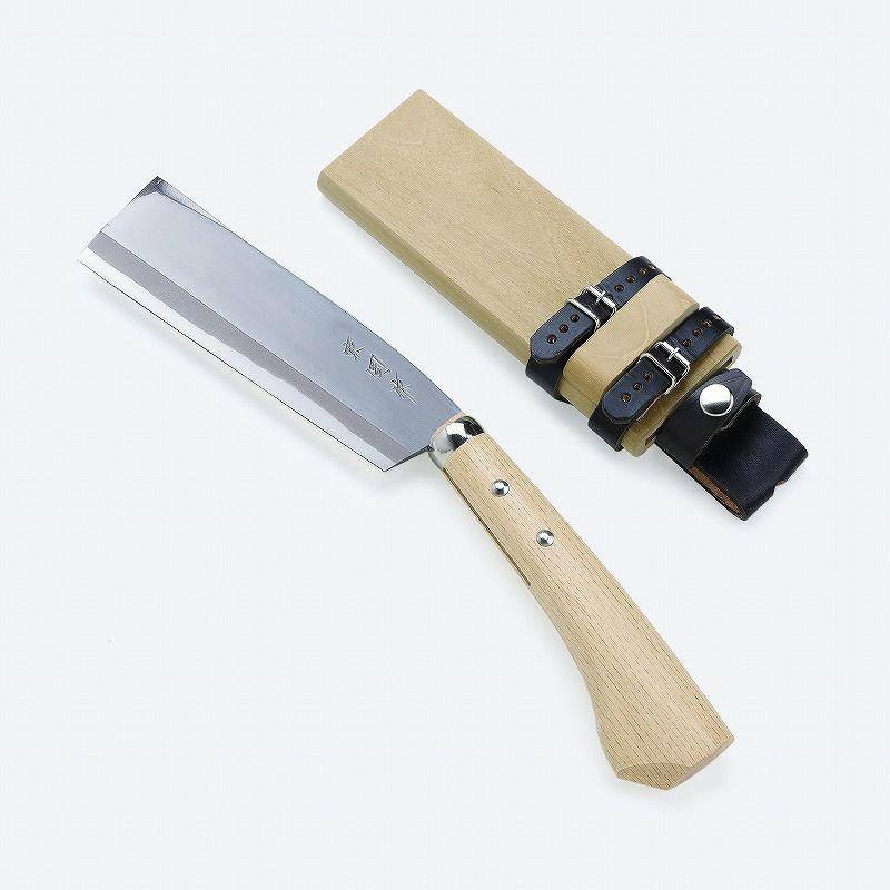 東周作 腰鉈 片刃 左利き用 青紙鋼 並幅 165mm 鞘付き 本職向け ほんまもんオリジナル