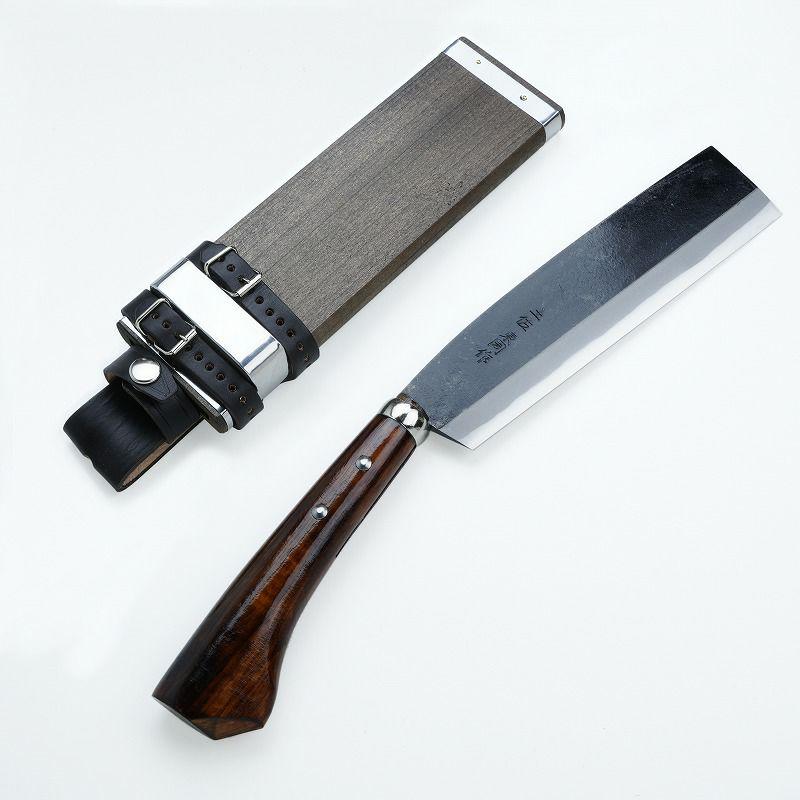 東周作 最高級 黒打腰鉈 両刃210mm 白紙鋼 オイルステイン仕上げ 鞘付き ほんまもんオリジナル