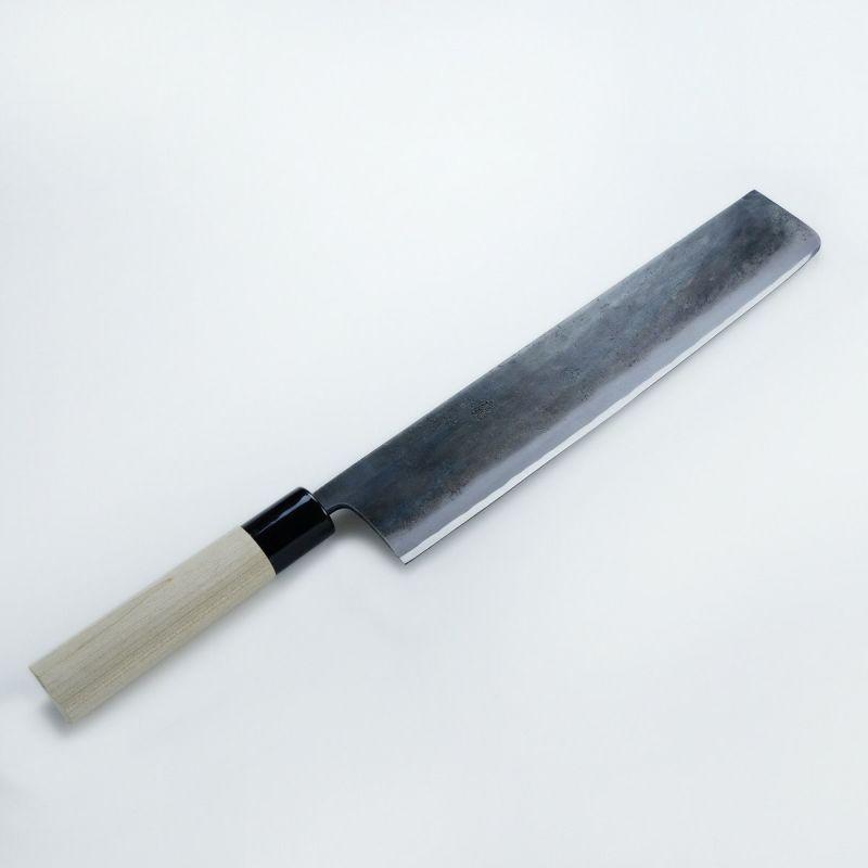 元兼 大型菜切包丁 黒打両刃 300mm 青紙1号 朴柄 極上品